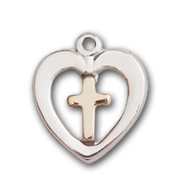 Two-Tone GF/SS Heart / Cross Pendant