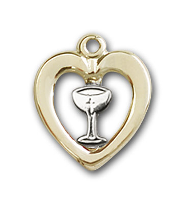 Two-Tone Sterling Silver and Gold-Filled Heart / Chalice Pendant