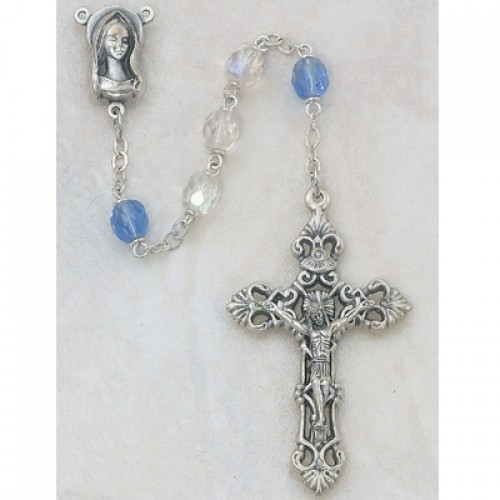 7MM AB Crystal/Blue Rosary