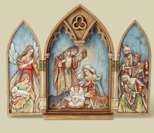 11.25-inch Wood Look Triptych Holy
