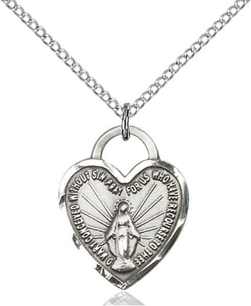 Sterling Silver Miraculous Heart Pendant