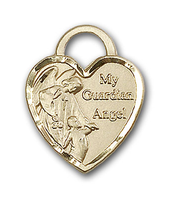 14K Gold Guardian Angel Heart Pendant