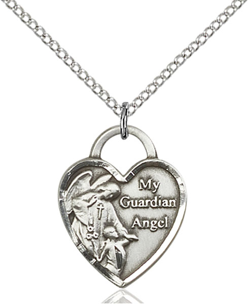 Sterling Silver Guardian Angel Heart Pendant