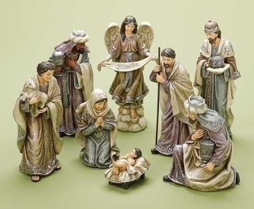 8Pc St 8-inch Nativity Pewter With