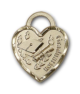 14K Gold Graduation Heart Pendant - Engravable