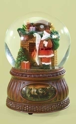 6.75-inch Musical Santa By Fireplc Dome