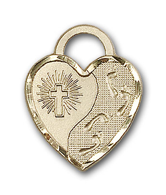 Gold-Filled Footprints Heart Pendant