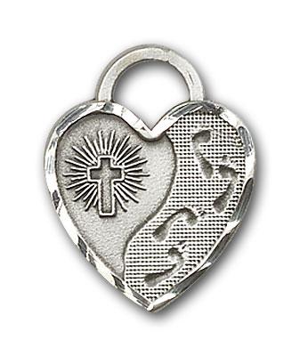 Sterling Silver Footprints Heart Pendant