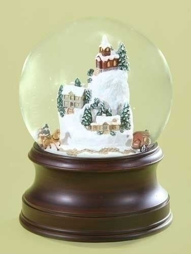 Musical 6.25-inch Village With Sleigh Dome