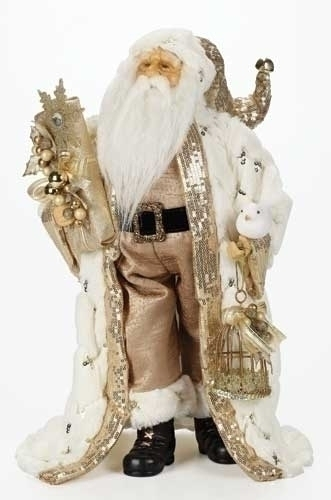 18-inch Gold Santa With Fur Coat Fig