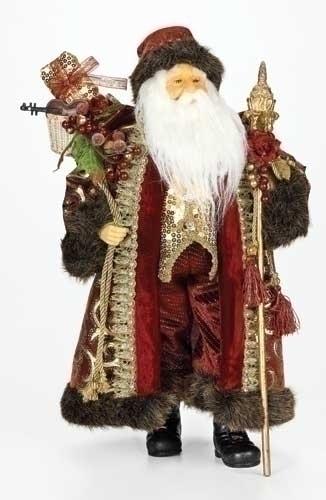 18-inch Burgundy Santa Figure