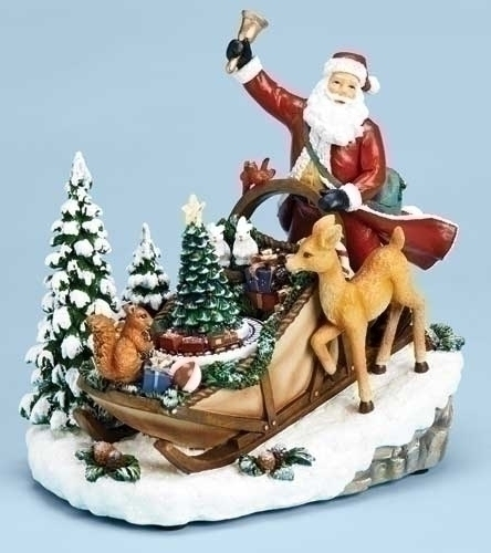 Musical 8-inch Santa In Sleigh Figure