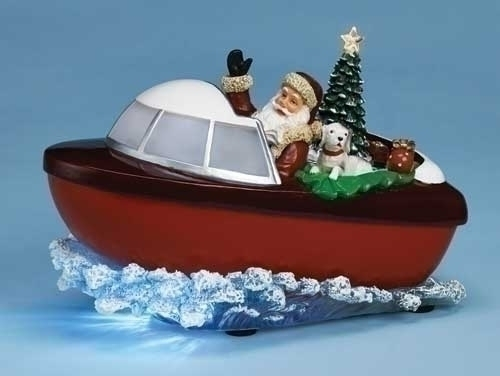 Musical 10-inch W Santa In Boat Figure