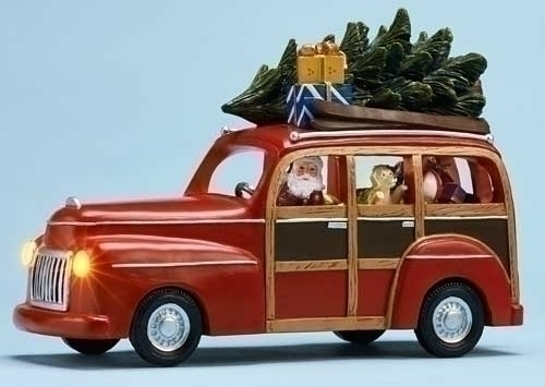 Musical 9.25-inch Station Wagon With Santa
