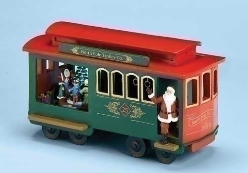 Musical 11.25-inch Trolley Cart With Santa
