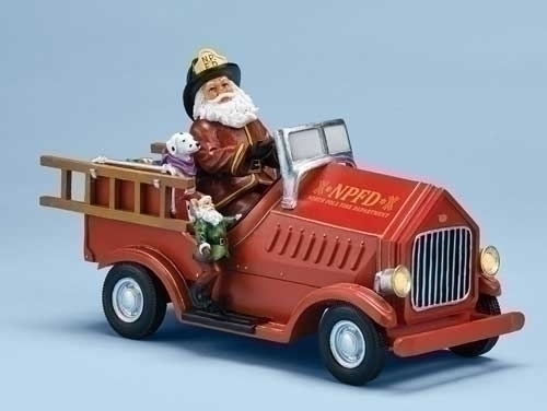 Musical 11-inch Lighted Firetrk With Santa