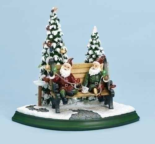 7.75-inch Elves On Bench With Light