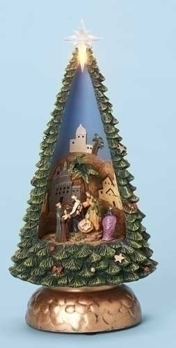 Musical 10-inch Nativity In Tree Fig
