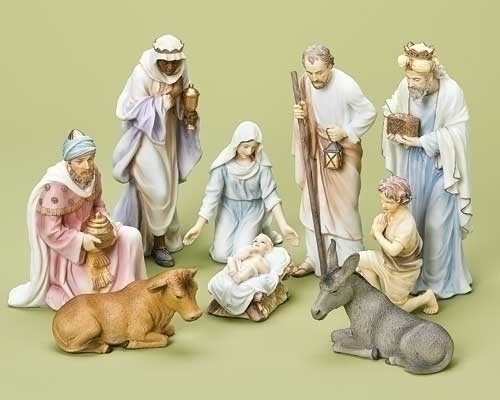 9Pc St 10-inch Pastel Nativity Fig