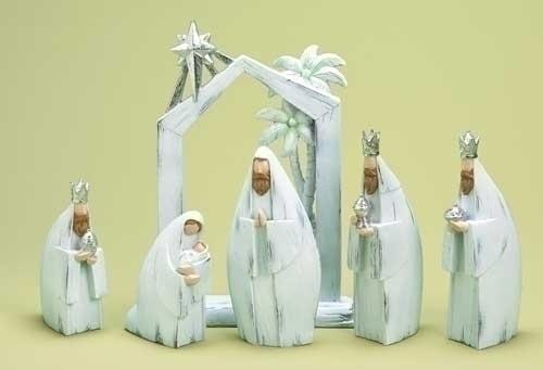 6Pc 11-inch Nativity White Wash