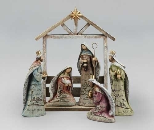6Pc St 12-inch Nativity With Stable