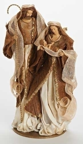 16.75-inch Mache Holy Family Ivory