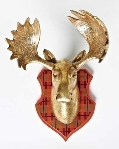 10-inch Moosewall Plq With Christmas Plaid