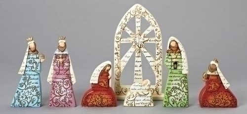 7Pc St 9-inch Nativity Figures Word