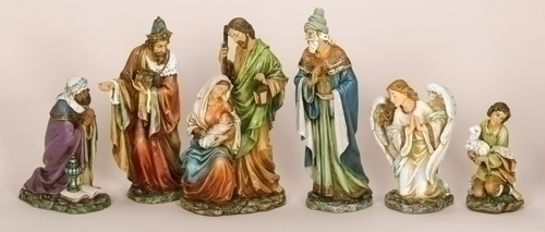 16-inch H 6Pc St Nativity With Angel