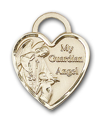 14K Gold Guardian Angel Heart Pendant - Engravable