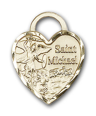 14K Gold St. Michael the Archangel Pendant - Engravable