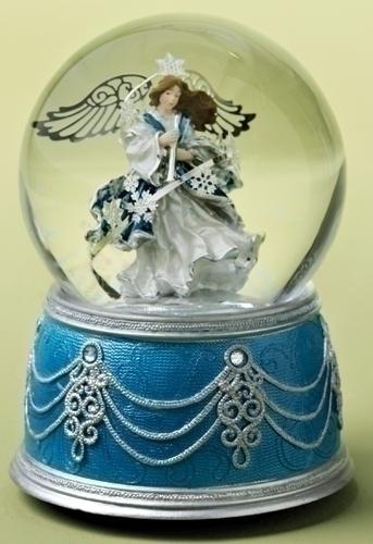 Musical 6-inch Angel With Blue Base Glitt