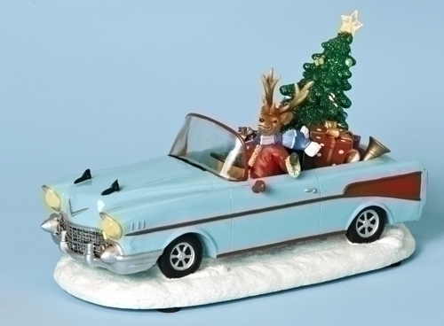 Musical 11.5-inch W 5Os Car With Deer,Tree