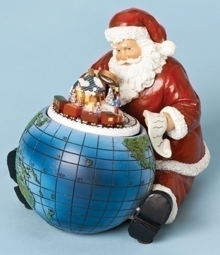 Musical 5-inch H Santa With Globe Lighted