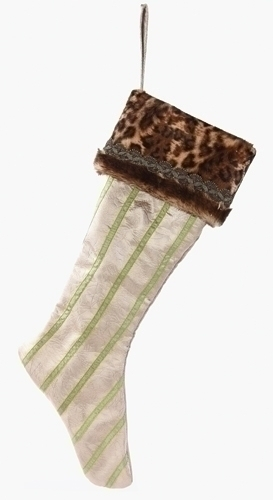 26-inch Christmas Stocking With Leopard Fur