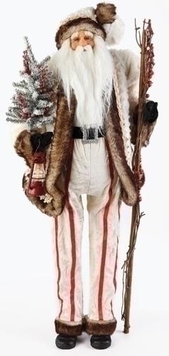 32-inch LED White Fur Santa Figure