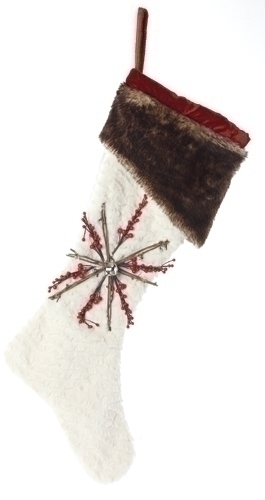 26-inch White Fur Santa Stocking