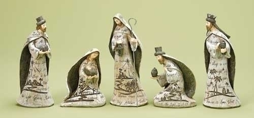 5Pc St 7.75-inch Nativity Engraved