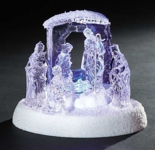 6.25-inch H LED Nativity White Base