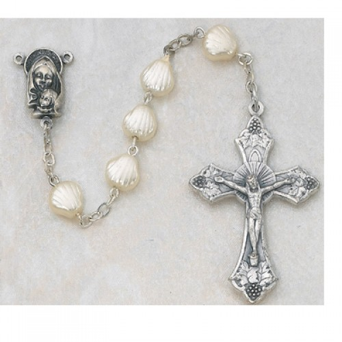 9X9MM Cream Pearl Shell Rosary