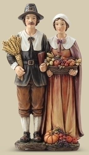 14-inch Pilgrim Couple Figure
