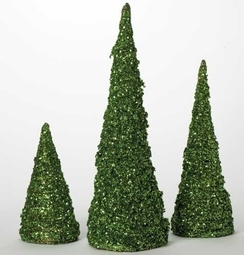 3Pc St 12-24-inch Green Cone Trees