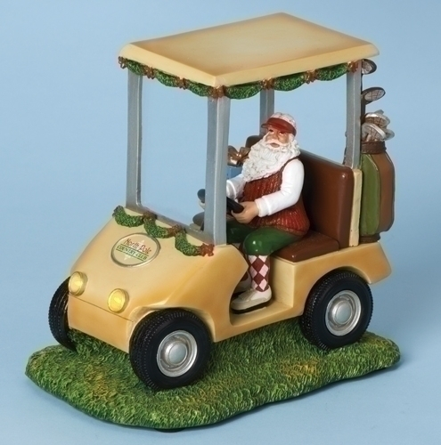 Musical 7-inch H Golf Cart With Santa Fig