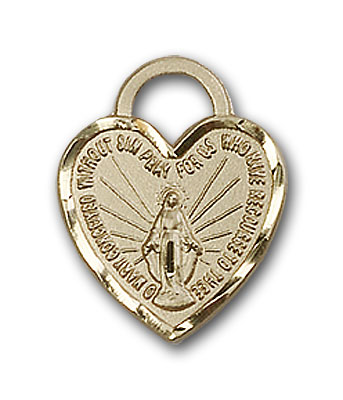 14K Gold Miraculous Heart Pendant