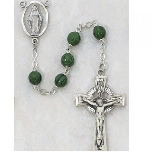 7MM Green Shamrock Rosary