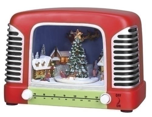 Musical 5.25-inch LED Radio With Village