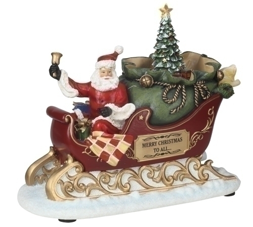 Musical 7-inch LED Santa In Sleigh Fig