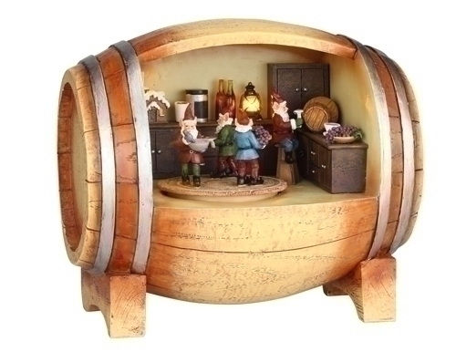 Musical 6.25-inch Wine Barrel With Elves