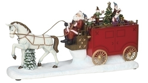 Musical 8-inch LED Santa On Wagon