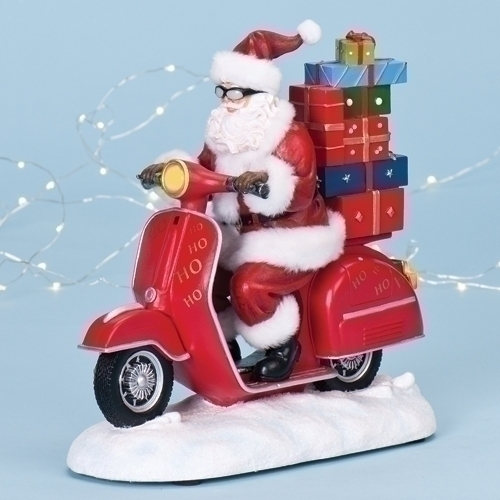 10.5-inch Musical Santa On Scooter Fig